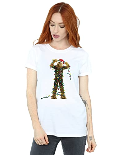 Star Wars Donna Chewbacca Christmas Lights Boyfriend T-Shirt Fit