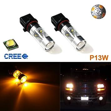 2 x HID oro ámbar Max de alta potencia 100 W CREE P13 W LED bombillas luces de conducción diurna DRL para Chevy Mazda Audi Mercedes-Benz Toyota: Amazon.es: ...