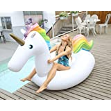 Vickea Leisure Giant Inflatable Unicorn Pool Float Large Outdoor Swimming Pool Floatie Lounge Toy for Adults & Kids