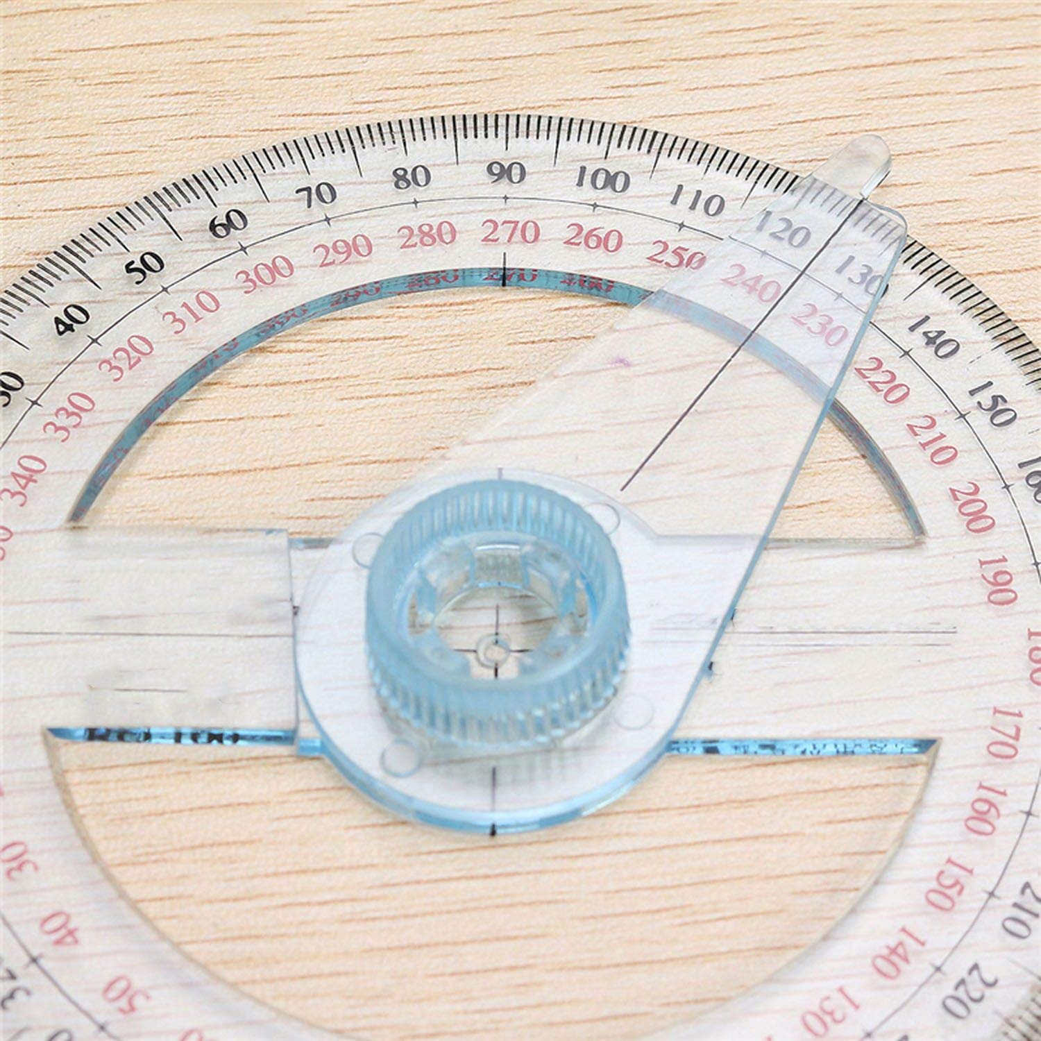 Portable Diameter of 10cm Plastic 360 Degree Pointer Protractor Ruler Angle Swing Arm for School Office Supplies,1 Pc by lucky-eye (Image #4)