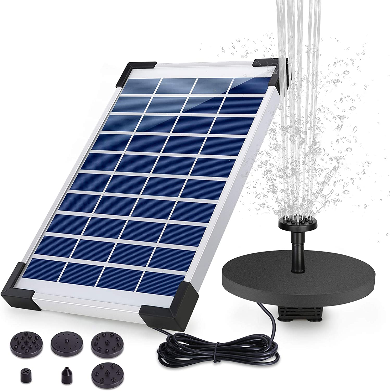 HEYSTOP 5W Solar Fountain Pump, Solar Water Pump Floating Fountain built-in Battery, with 6 Nozzles, for Bird Bath, Fish tank, Pond or Garden Decoration