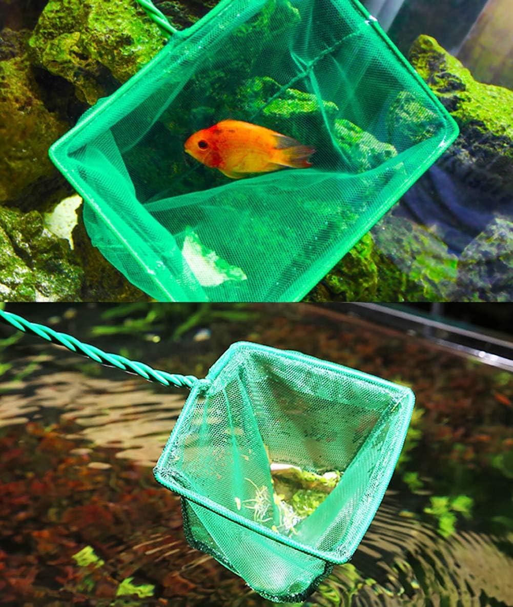 JIHUOO 8 Inch Square Aquarium Fish Net Fish Tank Net Mesh Catch Net with Metal Handle