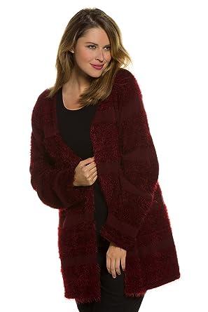 Ulla Popken Womens Plus Size Plush Cardigan Sweater Wine Red 1618
