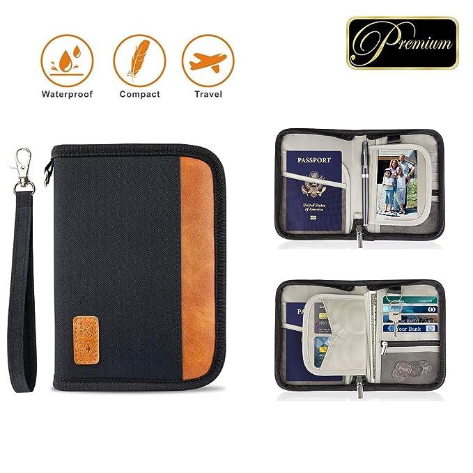 896cb01334c3 Family Passport Holder RFID-Blocking Travel Wallet Ticket Holder Document  Organizer with Zipper for Women & Men, Fits 5 Passports