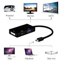 Greenzone 3 In1 Mini Display Port Thunderbolt To HDMI/DVI/VGA Display Port (Cable) Adapter For Macbook, Microsoft Surface Pro & Pro 2,3 (Black/White)