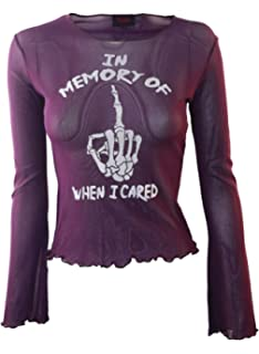 cf61dbec4 In Memory Of When I Cared Genuine Darkside Purple Fine Net Cropped Gothic  Mesh Top One
