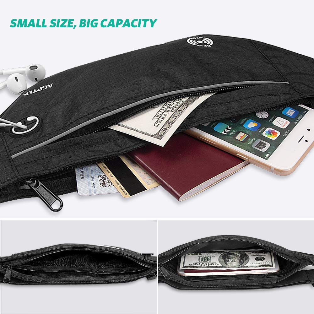 Fibbia per chiavi Marsupio da Viaggio RFID 100/% Marsupio Sportivo Impereabile con 5 Tasche Concerto; per Smartphone 6.5 Pollici 28 * 12 cm. Cintura Regolabile da 60 a 160 cm; Perfetto per Corsa
