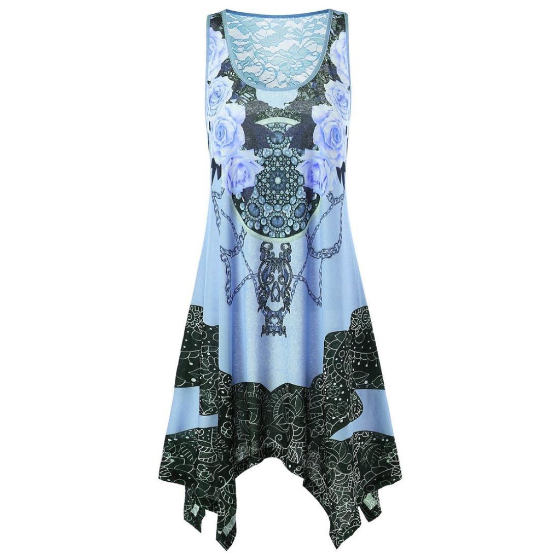 IMJONO Damen Mode Frauen Drucken Taschentuch Asymmetrische Spitze U-Neck Tank Kleid Minikleid IMJONO women Jun.28