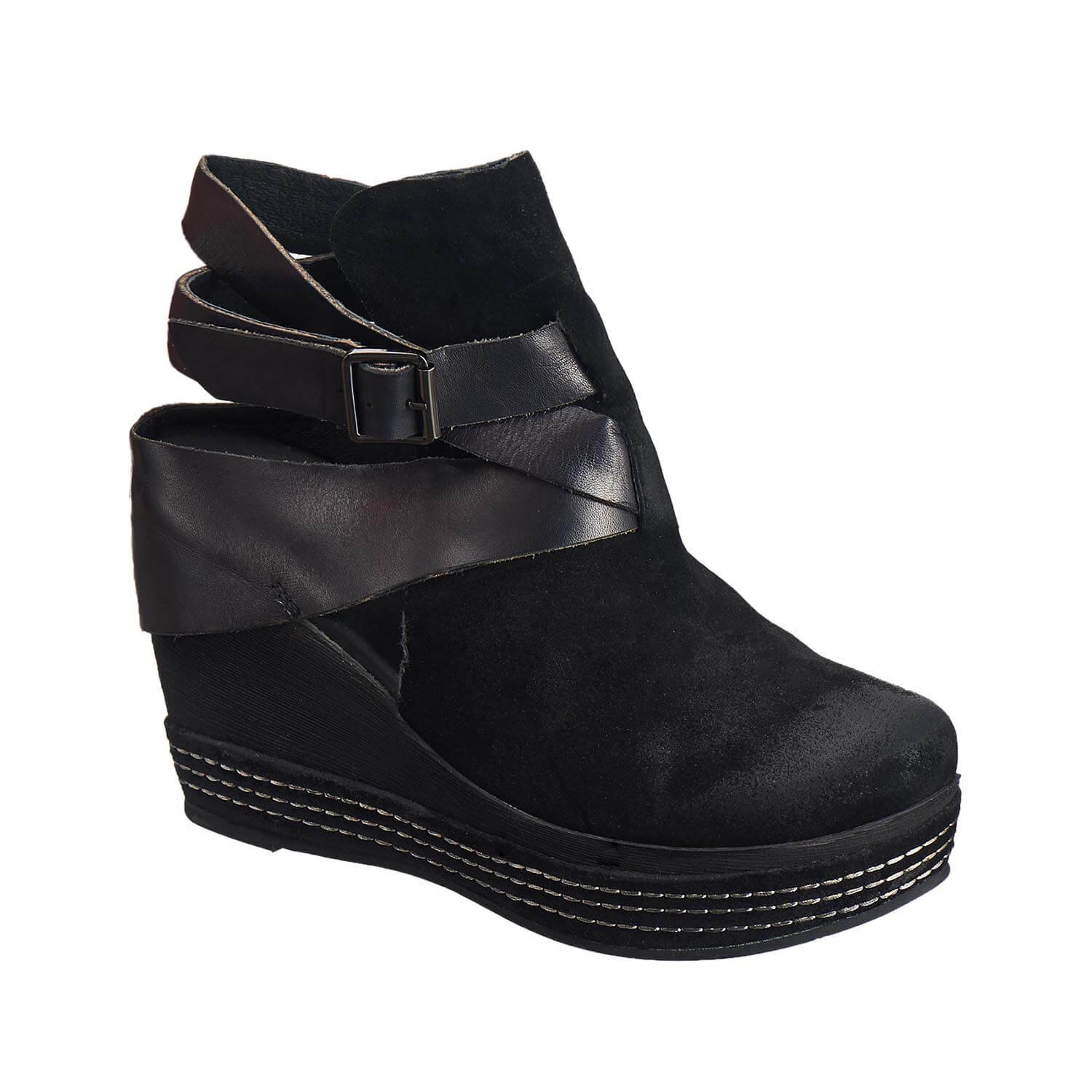 Antelope Women's 835 Black Suede Open Strap wrap 39