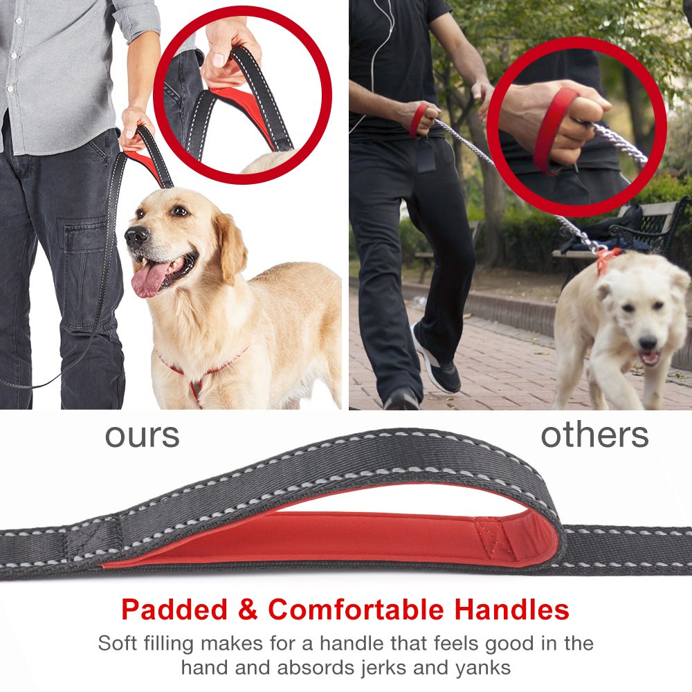 Delxo Double Dog Leash Retractable Dog Leash with Coupler for One or Two Dogs Hands Free Waist Belt Leash or One-handedly Dual Bungees with Padded Handles Medium to Large 150 lbs Dogs Greater Control DEL-002BK-D