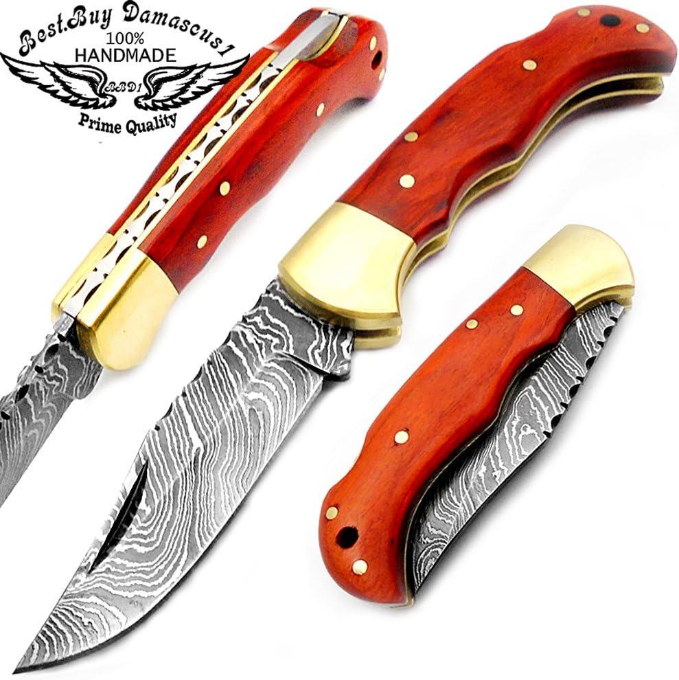 Orange Wood 6.5 Handmade Damascus Steel Brass Bloster Folding Pocket Knife Back Lock 100 Prime Quality