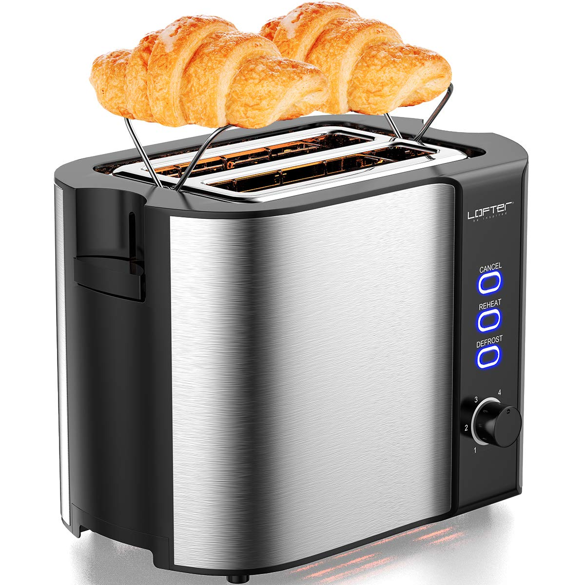 2 Slice Toaster, LOFTER Stainless Steel Bread Toasters Best Rated Prime with Warming Rack, Extra Wide Slots Small Toaster, 6 Bread Shade Settings, Defrost/Reheat/Cancel Function, Removable Crumb Tray, 800W, Silver by LOFTer