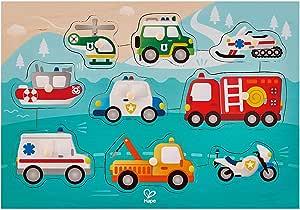 Hape Emergency Peg Puzzle | Multi Color Wooden 9 Piece Peg Puzzle, Interactive Vehicles Kids Toy