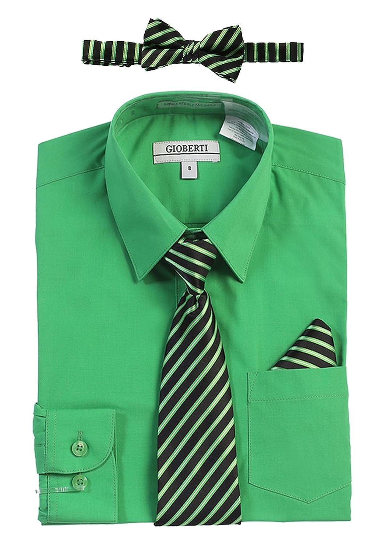Gioberti Big Boy's Long Sleeve Dress Shirt + Stripe Clip Tie DS-85