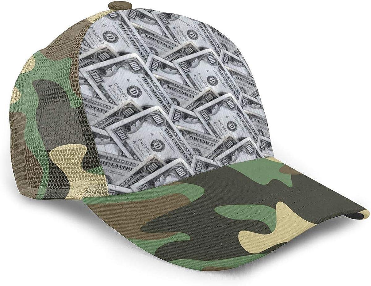 Money Dollar Adjustable Baseball Visor Cap,Mesh Hat,Men Women Athletic Hats