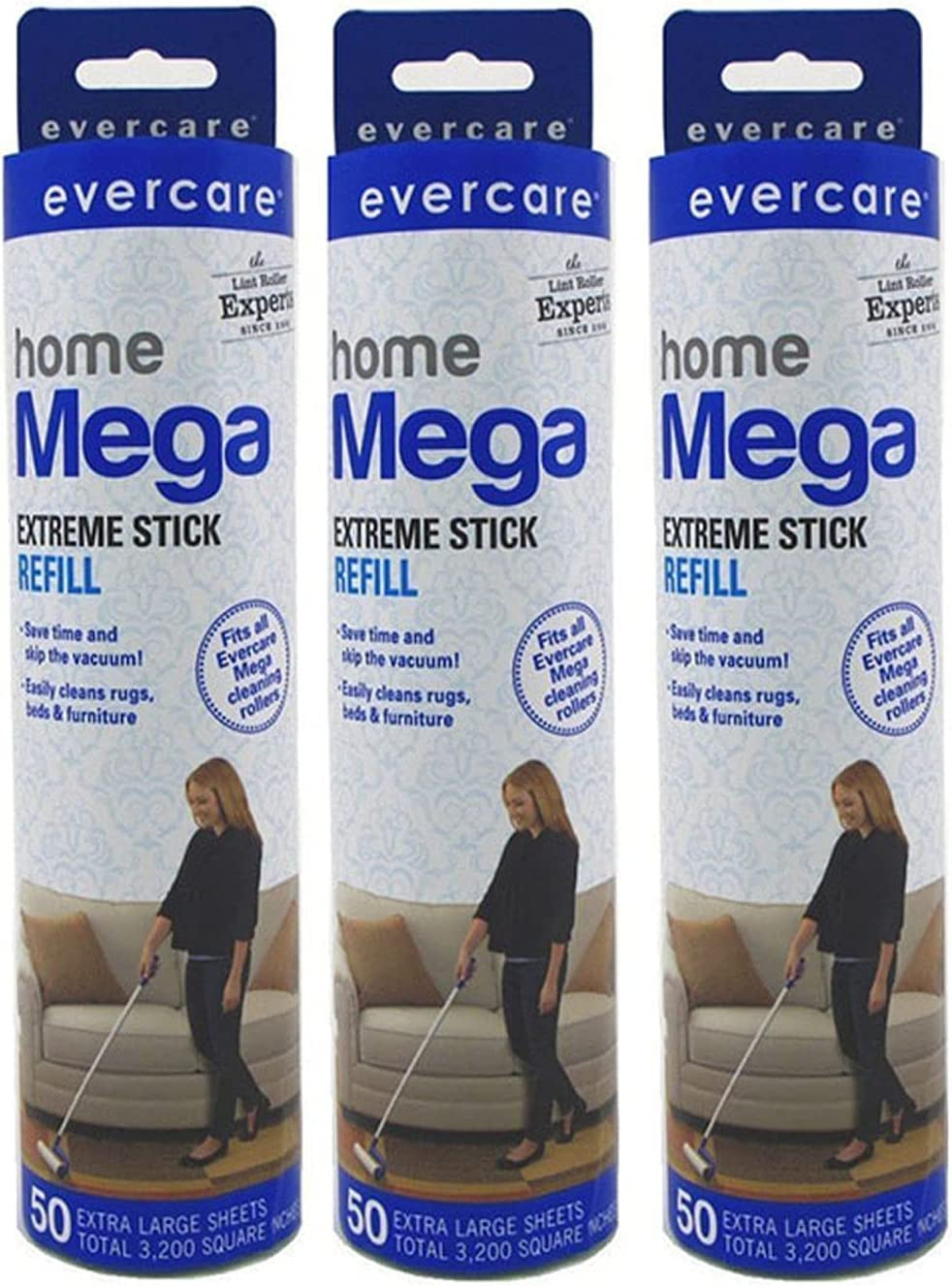 Evercare Mega Large Surface Roller Refill Challenge the lowest price Pack B0 6 Sheets 50 Indefinitely