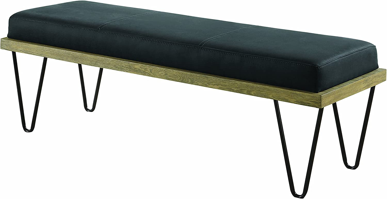 Coaster Home Furnishings Upholstered Bench with Hairpin Legs Black