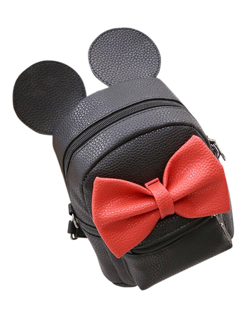 ShiningLove Women's PU Leather Cute Bowknot Ears Backpack Shoulder Multipurpose Span Bag