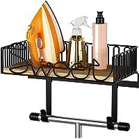 SRIWATANA Ironing Board Hanger Wall Mount, Iron & Ironing Board Holder with Wooden Base