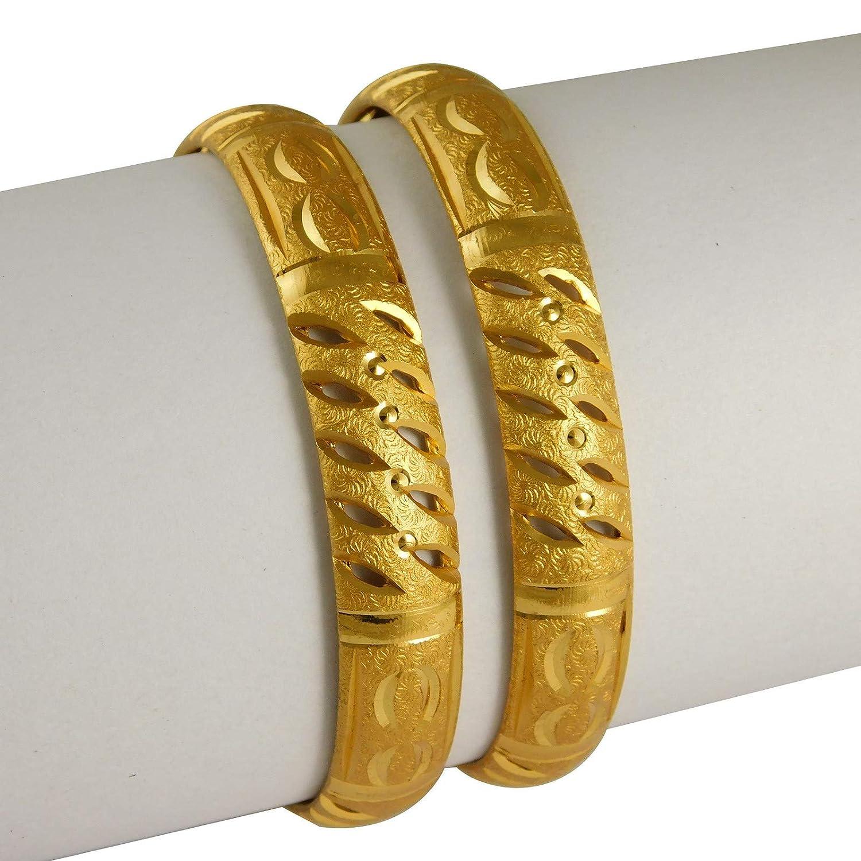 India ArtBollywood Designer 18K Bangle Set 2ps Goldplated Kada Bracelets Fashion Jewelry