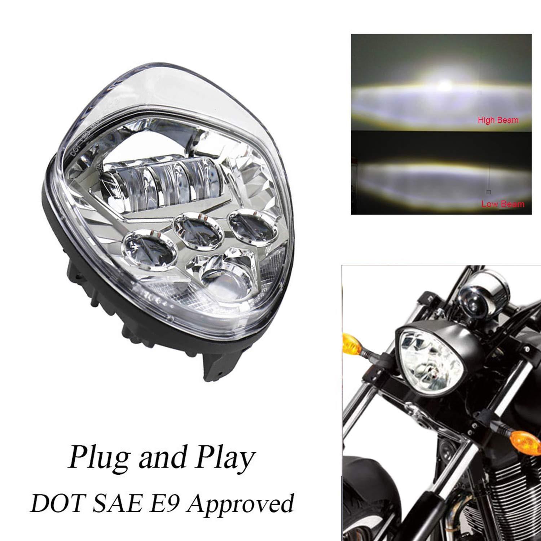 FairytaleMM Motorrad LED Scheinwerfer High-Abblendlicht 40W 6500K Bright Motorrad Kopf Lampe für den Sieg 2010-2016 für Cross-Country