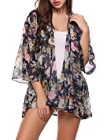 Women's 3/4 Sleeve Floral Chiffon Kimono Cardigan Blouse Beach Cover up