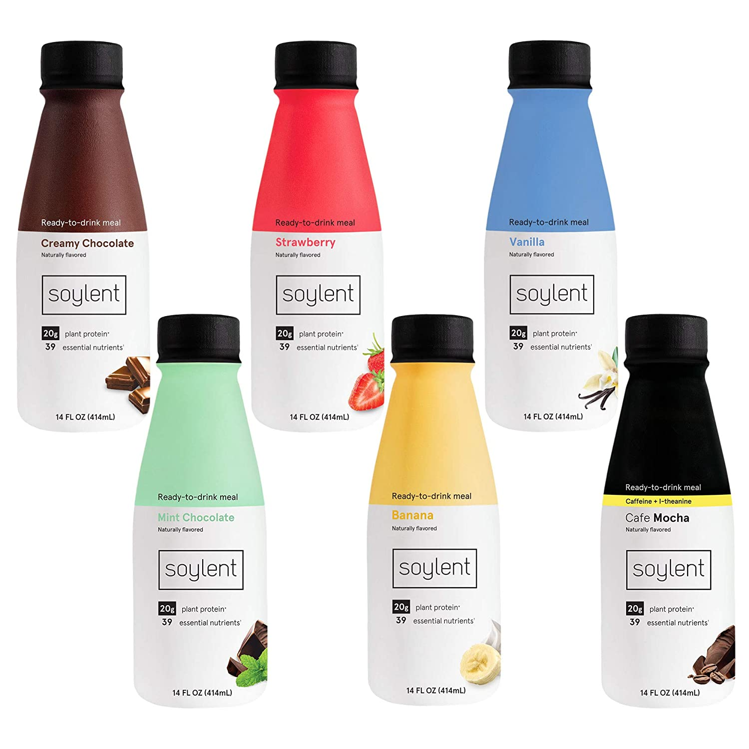 Soylent Sampler Pack Plant Protein Meal Replacement Shake, 14 fl oz, 6 Bottles, 1 of each Creamy Chocolate, Strawberry, Vanilla, Banana, Mint Chocolate, Cafe Mocha