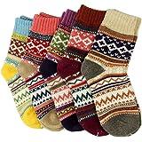 5paires femmes Mesdames épais Chaussettes d'hiver chaud laine Nordic Chaussettes fantaisie UK