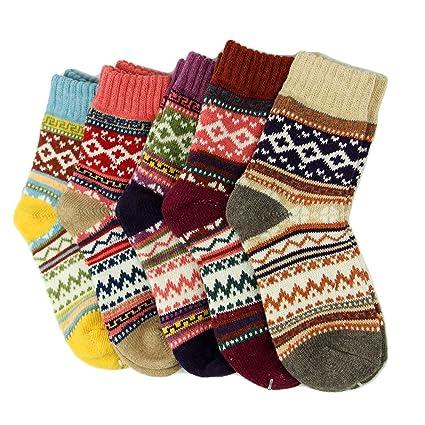 Calcetines gruesos de invierno para mujer, 5 pares