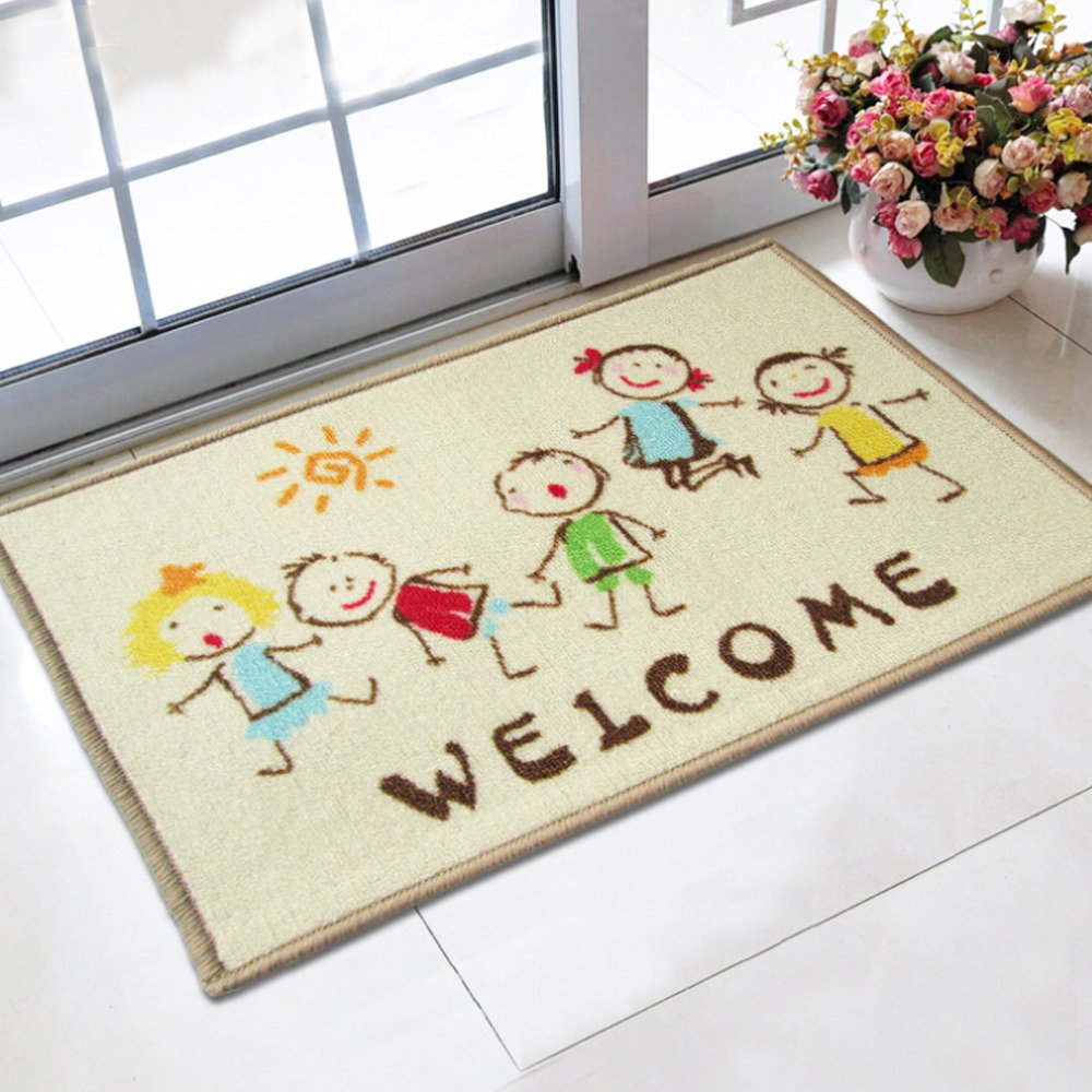 Doormat 40x60cm Cartoon Kids printed tapetes bath mat for Children living room bathroom carpet nylon mats Wholesale rugs (welcome design) Oatsupermart