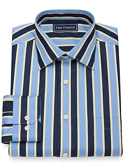 1950s Mens Shirts | Retro Bowling Shirts, Vintage Hawaiian Shirts Paul Fredrick Mens Slim Fit Cotton Wide Stripe Dress Shirt $54.98 AT vintagedancer.com