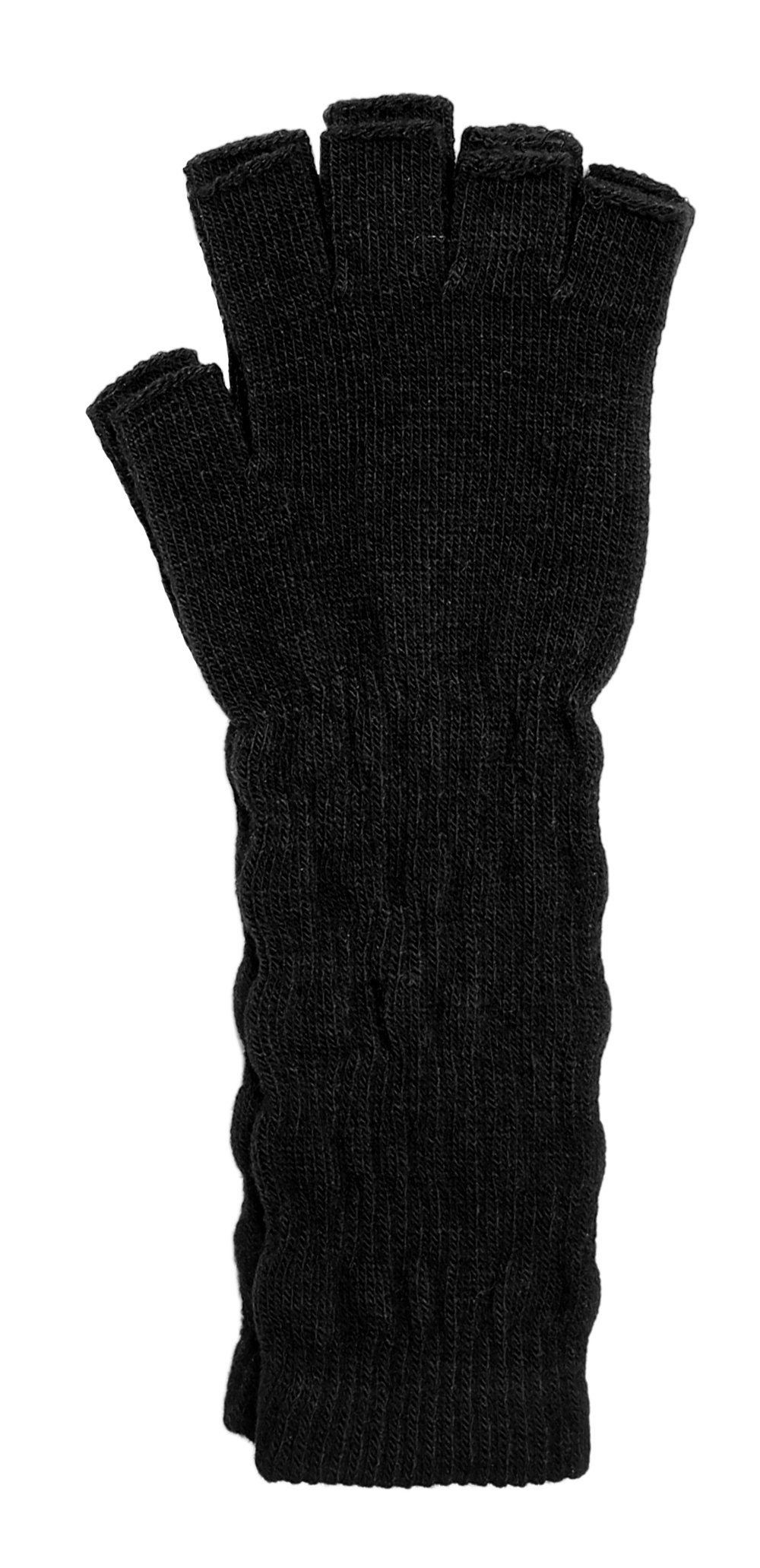 LL- Womens Warm Winter Arm Warmer Knit Fingerless Long Gloves 5 Half Fingers (Black Solid)