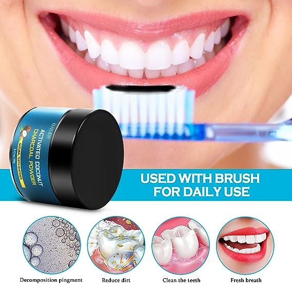 Blanqueamiento de dientes de carbón activado, blanqueador de dientes 100% natural, blanqueamiento de dientes de carbón natural, blanqueamiento de dientes de ...