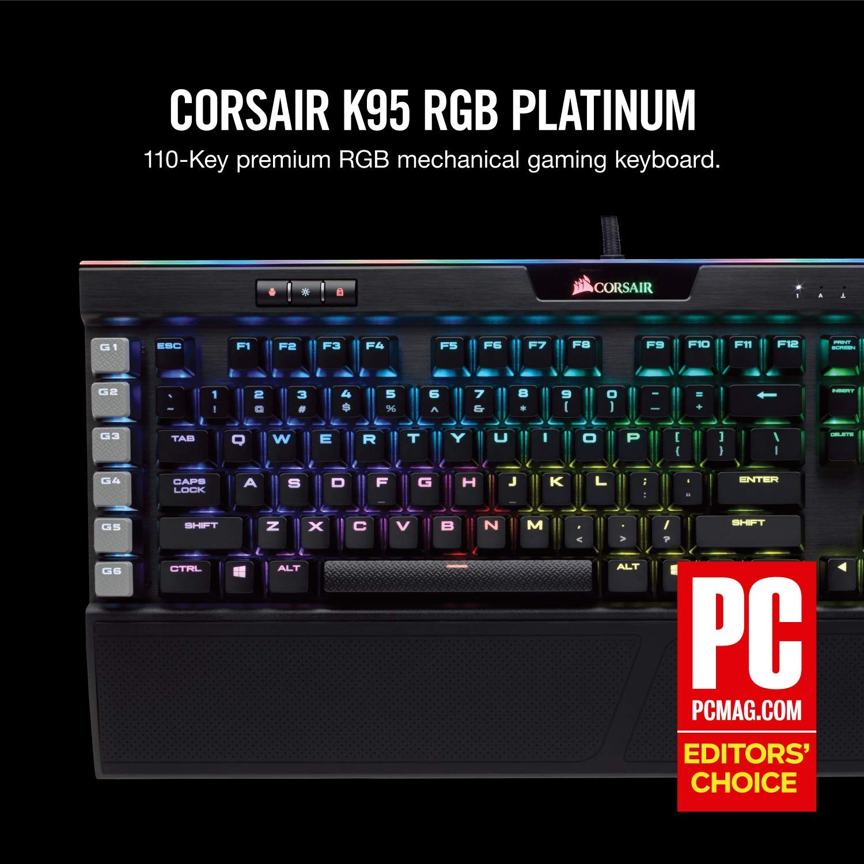 Corsair CH-9127014-UK K95 Platinum RGB Rapid Fire Cherry MX Speed  Multi-Colour Backlit Mechanical Gaming Keyboard - Black