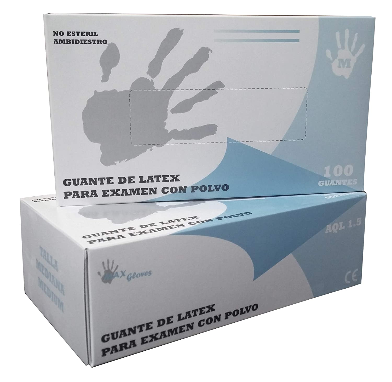 Caja 100 unidades Guantes de Latex Natural Pre Empolvados Max Gloves para Examen Color Natural 5,2 gr Extra Peque/ña XS