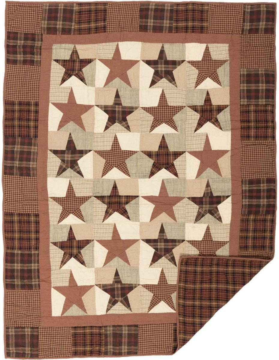 VHC Brands Primitive Classic Country Pillows Throws – Abilene Star Red Quilted Throw