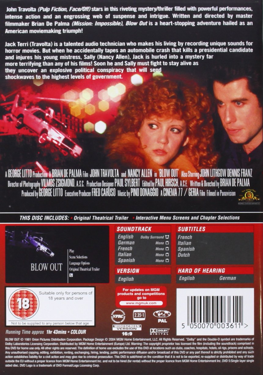 Blow Out [Reino Unido] [DVD]: Amazon.es: John Travolta: Cine y ...