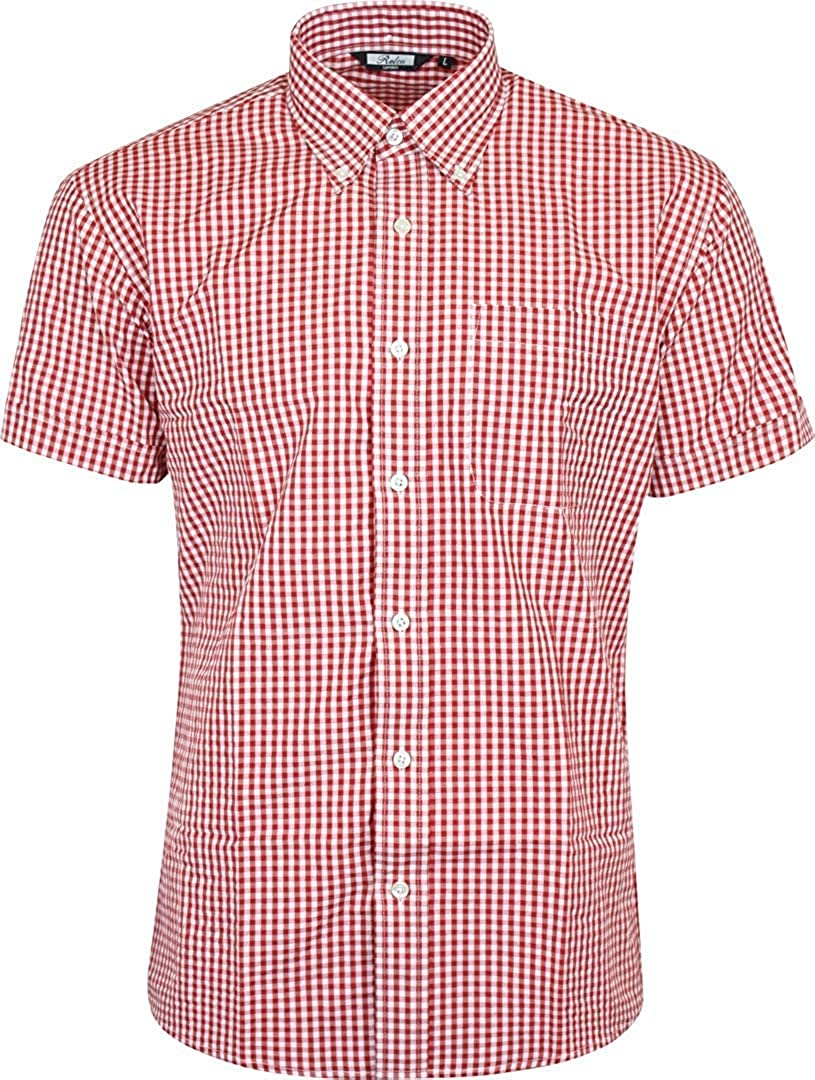 1960s – 70s Mens Shirts- Disco Shirts, Hippie Shirts Relco Mens Red White Classic Gingham Shortsleeve Button Down Polycotton Shirt £28.99 AT vintagedancer.com