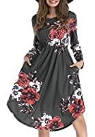 Yomoko Women's Long Sleeve Floral Casual Dress With Pocket, Swing Pleated T Shirt Midi Dresses