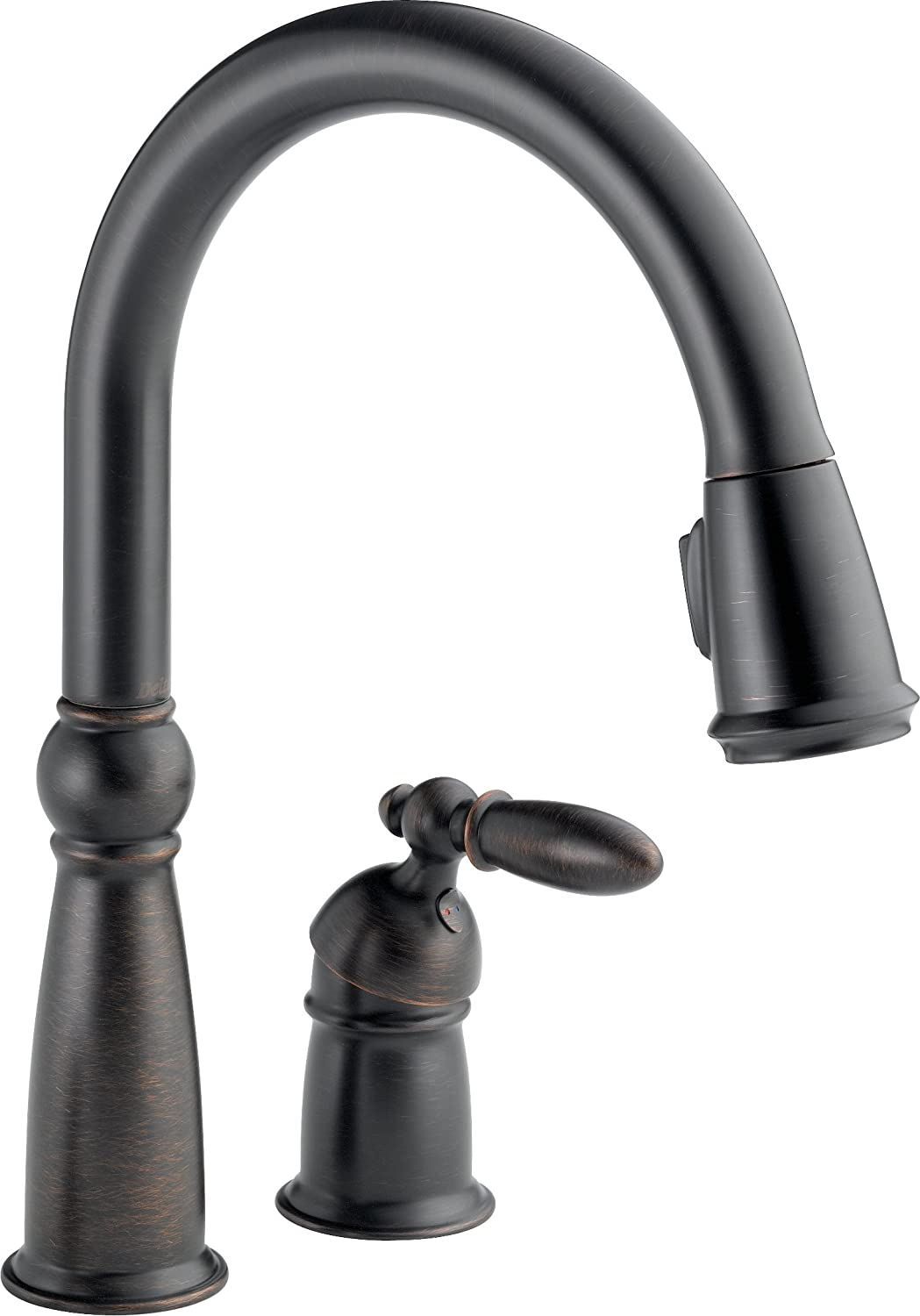 Delta Faucet Victorian Single-Handle Kitchen Sink Faucet with Pull Down Sprayer and Magnetic Docking Spray Head, Venetian Bronze 955-RB-DST