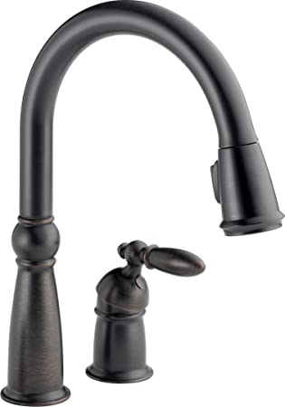 Delta Faucet Victorian Single Handle Kitchen Sink Faucet With Pull