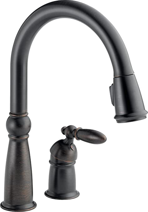 delta faucet victorian single handle kitchen sink faucet with pull rh amazon com