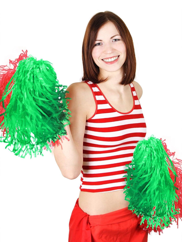 Pangda 12 Pack Cheerleading Pom Poms Sports Dance Cheer Plastic Pom Pom for Sports Team Spirit Cheering