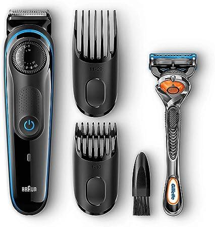 Braun BT3040 - Máquina Cortar Pelo, Recortadora Barba y Cortapelos, con Cuchillas Afiladas de Larga Duración, Negro/Azul, Incluye Maquinilla Gillete Fusion5