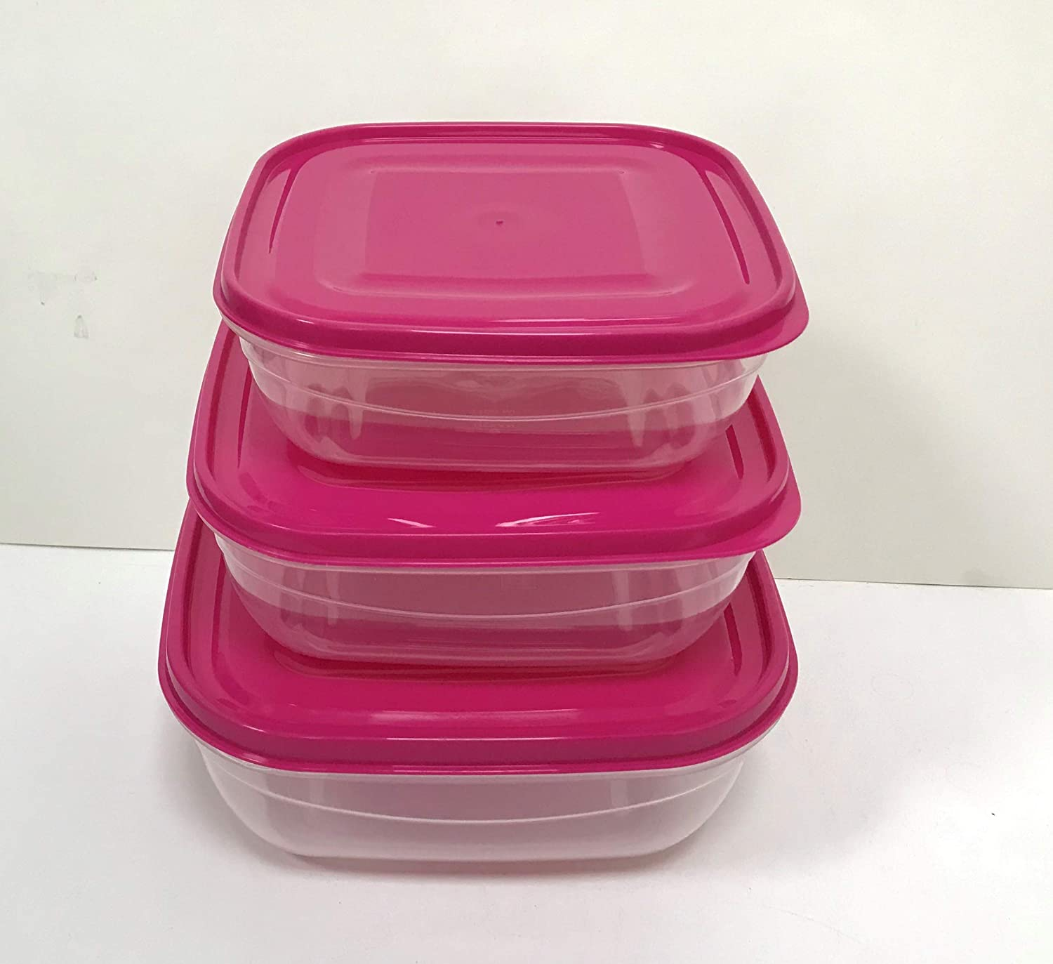 All For You Plastic Food Storage Container Set with lids BPA free Clear Made in Turkey (Red, Square 81 oz + 54 oz + 37 oz)