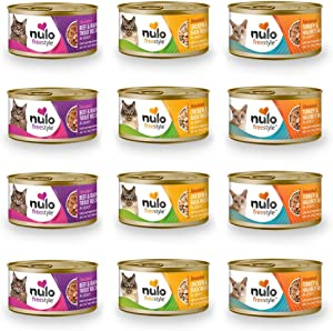 Nulo Freestyle Shredded Canned Wet Cat Food Variety Bundle - 3 oz. - 3 Flavors - Chicken & Duck, Beef & Rainbow Trout, and Turkey & Halibut (12 Cans Total)