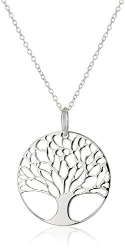 Sterling Silver Tree of Life Disk Chain Pendant Necklace