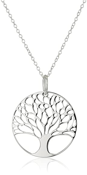 Amazon sterling silver tree of life disk chain pendant sterling silver tree of life disk chain pendant necklace 18quot mozeypictures Image collections