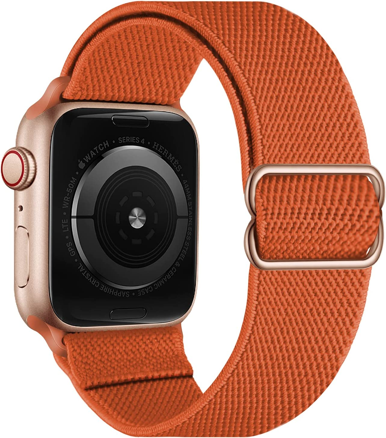 OXWALLEN Stretchy Nylon Solo Loop Compatible with Apple Watch Bands 38mm 40mm, Adjustable Elastic Braided Stretches Women Men Strap for iWatch SE Series 6/5/4/3/2/1,Orange