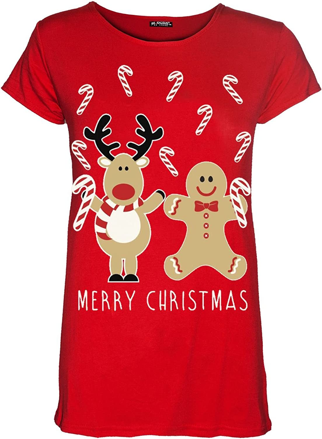 Womens Ladies Christmas Xmas Cap Sleeve Reindeer Gingerbread Santa T Shirt Top